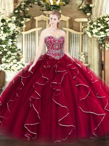 Most Popular Wine Red Sleeveless Floor Length Beading and Ruffles Lace Up Quinceanera Gown