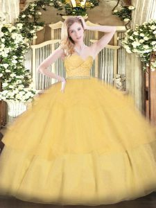 Floor Length Ball Gowns Sleeveless Gold 15 Quinceanera Dress Zipper