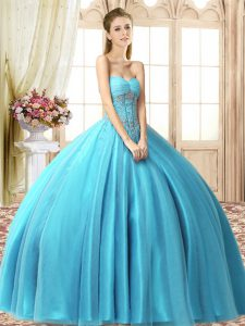 Aqua Blue Sleeveless Tulle Lace Up 15th Birthday Dress for Military Ball and Sweet 16 and Quinceanera