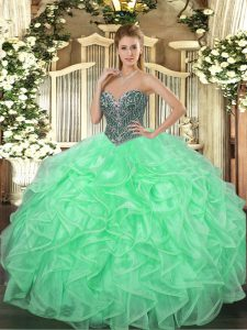 Beauteous Apple Green Ball Gowns Beading and Ruffles Quinceanera Gown Lace Up Organza Sleeveless Floor Length