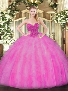 Fuchsia Sweet 16 Quinceanera Dress Military Ball and Sweet 16 and Quinceanera with Beading and Ruffles Sweetheart Sleeveless Lace Up