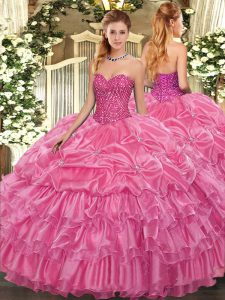 Sweetheart Sleeveless Lace Up Quince Ball Gowns Rose Pink Organza