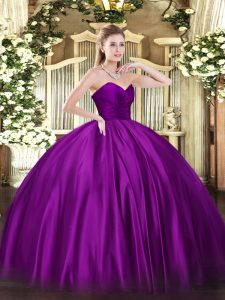Trendy Floor Length Ball Gowns Sleeveless Purple Quinceanera Gown Zipper