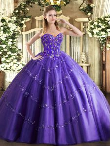 Inexpensive Purple Tulle Lace Up Sweetheart Sleeveless Floor Length Vestidos de Quinceanera Appliques and Embroidery