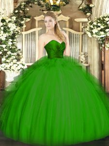 Amazing Green Ball Gowns Ruffles Sweet 16 Quinceanera Dress Zipper Tulle Sleeveless Floor Length