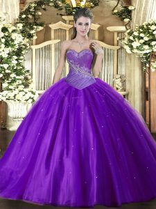Suitable Eggplant Purple Tulle Lace Up Sweetheart Sleeveless Floor Length 15 Quinceanera Dress Beading