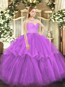 High Quality Fuchsia 15th Birthday Dress Sweetheart Sleeveless Brush Train Zipper