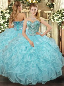 Beauteous Aqua Blue Sleeveless Floor Length Beading and Ruffled Layers Lace Up Vestidos de Quinceanera