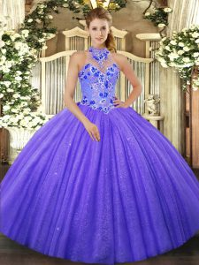 Halter Top Sleeveless Tulle Quinceanera Dress Beading and Embroidery Lace Up