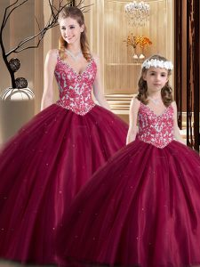 Lovely Sleeveless Floor Length Lace Lace Up Ball Gown Prom Dress with Wine Red