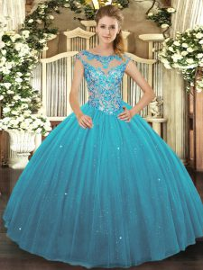 Sumptuous Scoop Sleeveless Tulle Sweet 16 Dresses Beading Lace Up