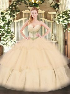 Beauteous Tulle Sweetheart Sleeveless Lace Up Beading and Ruffled Layers Sweet 16 Dresses in Champagne
