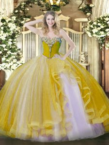 Hot Selling Floor Length Gold Sweet 16 Dresses Tulle Sleeveless Beading and Ruffles