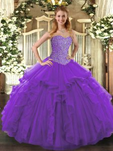 Simple Purple Sleeveless Beading and Ruffles Floor Length Sweet 16 Dress