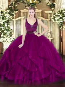 Excellent Fuchsia Sleeveless Floor Length Beading and Ruffles Zipper Vestidos de Quinceanera