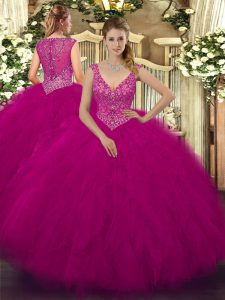 Fine Sleeveless Tulle Floor Length Zipper Quinceanera Dresses in Fuchsia with Beading and Ruffles