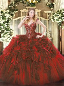 Wine Red Organza Lace Up V-neck Sleeveless Floor Length Sweet 16 Quinceanera Dress Beading and Ruffles