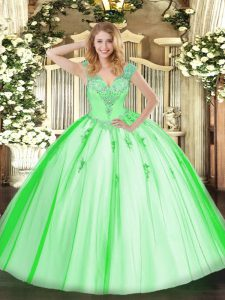 Sleeveless Lace Up Floor Length Beading Quinceanera Gowns