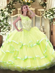 Yellow Green Scoop Neckline Beading and Ruffled Layers 15th Birthday Dress Sleeveless Lace Up