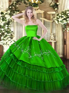 Most Popular Green Zipper Quinceanera Dress Embroidery and Ruffled Layers Sleeveless Floor Length
