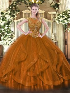 Cheap Brown Ball Gowns Tulle Scoop Sleeveless Beading and Ruffles Floor Length Zipper 15 Quinceanera Dress