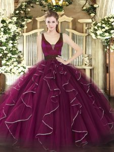 Straps Sleeveless Sweet 16 Dress Floor Length Beading and Ruffles Fuchsia Tulle