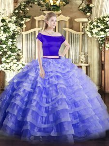 Two Pieces Vestidos de Quinceanera Blue Off The Shoulder Tulle Short Sleeves Floor Length Zipper