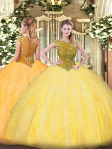Lovely Gold Sleeveless Tulle Zipper Sweet 16 Dress for Sweet 16 and Quinceanera