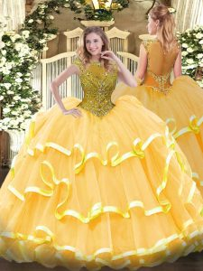 Gold Ball Gowns Beading and Ruffled Layers Ball Gown Prom Dress Zipper Organza Cap Sleeves Floor Length