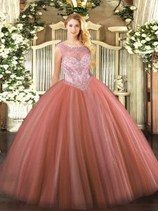 Lovely Scoop Sleeveless Tulle Quinceanera Dress Beading Zipper