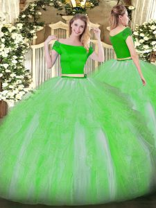 Dynamic Green Quinceanera Gowns Military Ball and Sweet 16 and Quinceanera with Appliques and Ruffles Off The Shoulder Short Sleeves Zipper