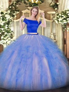 Decent Short Sleeves Zipper Floor Length Appliques and Ruffles Quinceanera Gowns