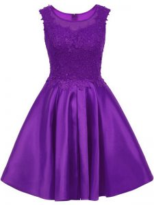 Flirting Lace Quinceanera Court Dresses Purple Zipper Sleeveless Mini Length