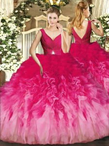 Graceful Multi-color 15 Quinceanera Dress Sweet 16 and Quinceanera with Beading and Ruffles V-neck Sleeveless Backless