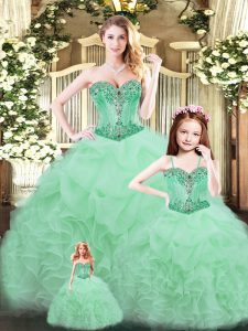 Apple Green Ball Gowns Beading and Ruffles Sweet 16 Dresses Lace Up Tulle Sleeveless Floor Length
