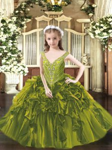 V-neck Sleeveless High School Pageant Dress Floor Length Beading and Ruffles Olive Green Organza