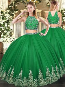 Dark Green Sleeveless Floor Length Beading and Ruffles Zipper Ball Gown Prom Dress