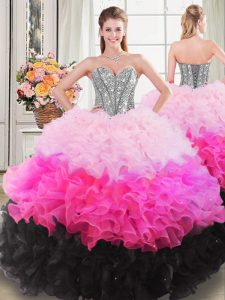 Attractive Multi-color Sleeveless Beading and Ruffles Floor Length Quinceanera Dress