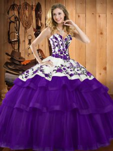 Sleeveless Embroidery Lace Up Sweet 16 Dress with Purple Sweep Train