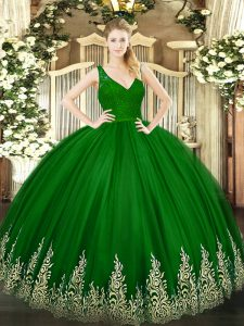 V-neck Sleeveless Tulle Sweet 16 Quinceanera Dress Beading and Lace and Appliques Backless