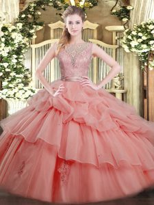 Watermelon Red Scoop Neckline Beading and Ruffled Layers Quinceanera Dress Sleeveless Backless