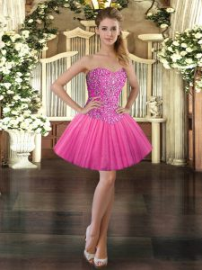 Hot Pink Sweetheart Neckline Beading Prom Dresses Sleeveless Lace Up