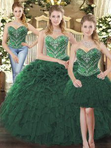 Dazzling Sleeveless Floor Length Beading and Ruffles Lace Up 15 Quinceanera Dress with Dark Green
