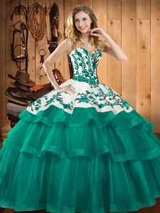 Superior Turquoise Ball Gowns Sweetheart Sleeveless Organza Sweep Train Lace Up Embroidery Quince Ball Gowns