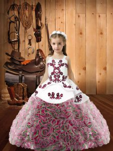 Straps Sleeveless Lace Up Evening Gowns Multi-color Fabric With Rolling Flowers