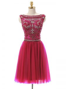 Hot Pink Zipper Prom Dresses Beading Sleeveless Mini Length