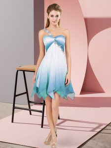 Asymmetrical Multi-color Dress for Prom Fading Color Sleeveless Beading