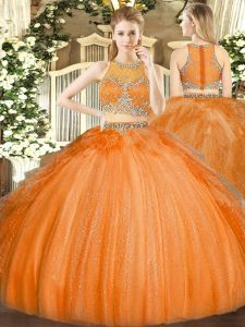 Dramatic Orange Tulle Zipper Sweet 16 Dress Sleeveless Floor Length Beading
