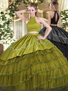 Halter Top Sleeveless Organza Quinceanera Gowns Beading and Embroidery and Ruffled Layers Backless