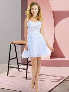 Lavender V-neck Neckline Beading and Lace Vestidos de Damas Sleeveless Side Zipper